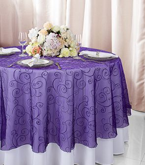 """108""""  Round Embroidered Organza Table Overlay - Regency 95863(1pc/pk)"""