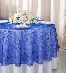 """108""""  Round Embroidered Organza Table Overlay - Royal Blue 95822(1pc/pk)"""