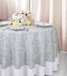 """108""""  Round Embroidered Organza Table Overlay - Silver 95840(1pc/pk)"""