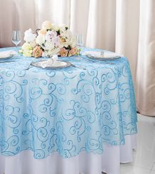 """108""""  Round Embroidered Organza Table Overlay - Turquoise 95885(1pc/pk)"""