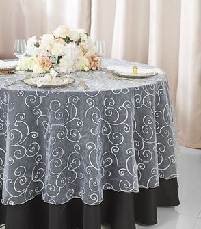 """108""""  Round Embroidered Organza Table Overlay - White 95801(1pc/pk)"""