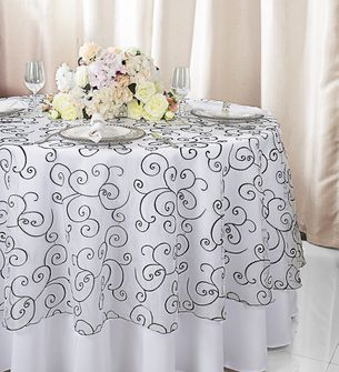 """108""""  Round Embroidered Organza Table Overlay - White / Black 95869(1pc/pk)"""