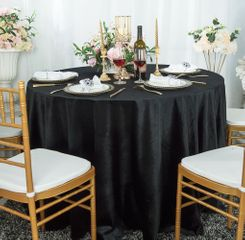 "108"" Round Seamless Italian Velvet Tablecloth - Black 25239 (1pc/pk)"