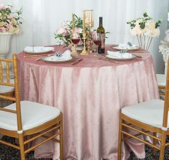"108"" Round Seamless Italian Velvet Tablecloth - Blush Pink 25215 (1pc/pk)"