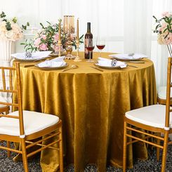 "108"" Round Seamless Italian Velvet Tablecloth - Gold 25227 (1pc/pk)"