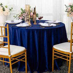 "108"" Round Seamless Italian Velvet Tablecloth - Navy Blue 25223 (1pc/pk)"