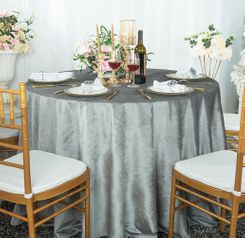 "108"" Round Seamless Italian Velvet Tablecloth - Silver 25240 (1pc/pk)"