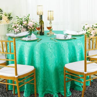 """108"""" Round Seamless Jacquard Damask Polyester Tablecloths (14 colors)"""