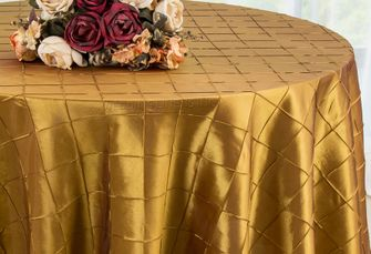 "108"" Round Pintuck Taffeta Tablecloth - Gold 60427 (1pc/pk)"