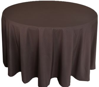"""108"""" Round Polyester Tablecloth - Chocolate 52891(1pc/pk)"""