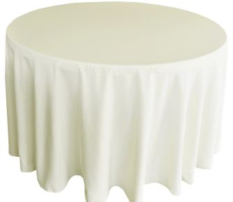 "108"" Round Polyester Tablecloth - Ivory 52802 (1pc/pk)"