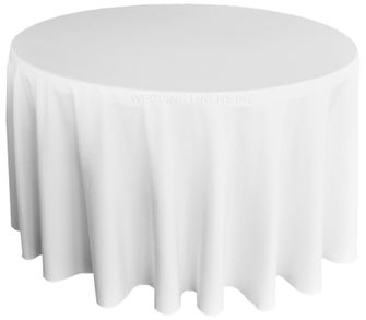 "108"" Round Polyester Tablecloth - White 52801(1pc/pk)"