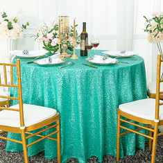 "108"" Round Seamless Sequin Taffeta Tablecloths (23 Colors)"