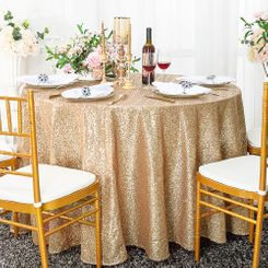 "108"" Round Sequin Taffeta Tablecloths - Champagne 01228 (1pc/pk)"