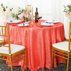 "108"" Round Sequin Taffeta Tablecloths - Coral 01206 (1pc/pk)"