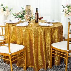 "108"" Round Sequin Taffeta Tablecloths - Gold 01227 (1pc/pk)"