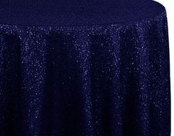 "108"" Round Sequin Taffeta Tablecloths - Navy Blue 01223 (1pc/pk)"