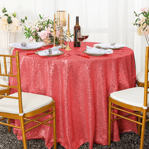 """108"""" Round Sequin Taffeta Tablecloths - (NEW SHADE) Coral 01206(1pc/pk)"""