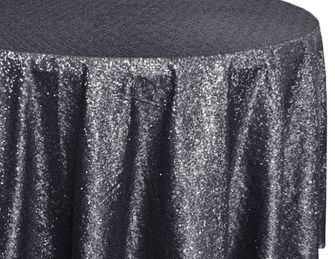 "108"" Round Sequin Taffeta Tablecloths - Pewter 01260 (1pc/pk)"