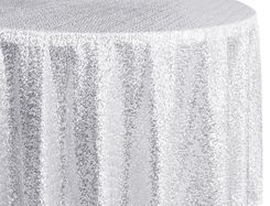 "108"" Round Sequin Taffeta Tablecloths - Platinum 01271 (1pc/pk)"