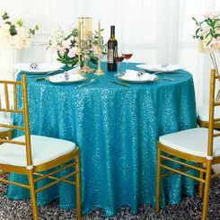 "108"" Round Sequin Taffeta Tablecloths - Turquoise 01285 (1pc/pk)"