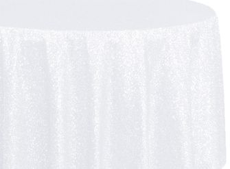 "108"" Round Sequin Taffeta Tablecloths - White 01201 (1pc/pk)"