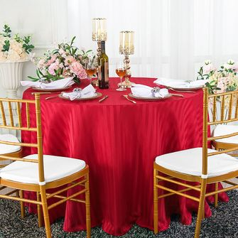 """108"""" Round Striped Jacquard Polyester Tablecloths (7 colors)"""