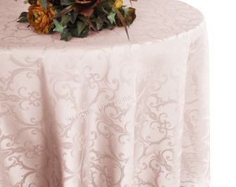 "108"" Round Versailles Damask Jacquard Tablecloth - Blush Pink 92515 (1pc/pk)"