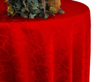 "108"" Round Versailles Damask Jacquard Tablecloth - Red 92512 (1pc/pk)"