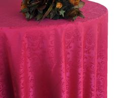 "108"" Round Jacquard Damask Polyester Tablecloth - Fuchsia 96509 (1pc/pk)"