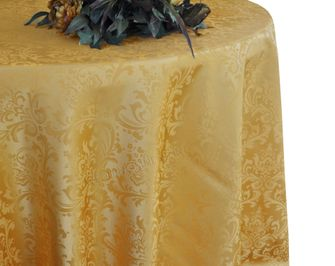 "108"" Round Jacquard Damask Polyester Tablecloth - Gold (1pc/pk)"