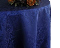 "108"" Round Jacquard Damask Polyester Tablecloth - Navy Blue 96523 (1pc/pk)"