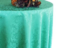"108"" Round Jacquard Damask Polyester Tablecloth - Tiff Blue / Aqua Blue 96518(1pc/pk)"