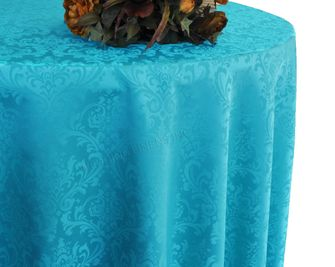 """108"""" Round Jacquard Damask Polyester Tablecloth - Turquoise 96585 (1pc/pk)"""