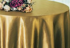 "108"" Round Satin Table Overlays - Antique Gold 55629 (1pc/pk)"