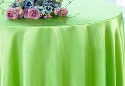 "108"" Round Satin Table Overlays - Apple Green 55637 (1pc/pk)"