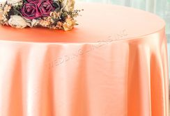 "108"" Round Satin Table Overlays - Apricot / Peach 55631 (1pc/pk)"