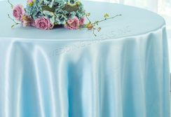 "108"" Round Satin Table Overlays - Baby Blue 55620 (1pc/pk)"