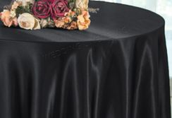 "108"" Round Satin Table Overlays - Black 55639 (1pc/pk)"