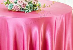 "108"" Round Satin Table Overlays - Bubble Gum 55635 (1pc/pk)"