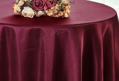 "108"" Round Satin Table Overlay - Burgundy 55610 (1pc/pk)"