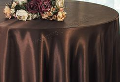 "108"" Round Satin Table Overlays - Chocolate 55691 (1pc/pk)"