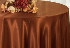 "108"" Round Satin Table Overlays - Cognac 55657 (1pc/pk)"