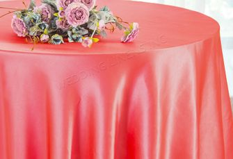 """108"""" Round Satin Table Overlays - Coral 55606 (1pc/pk)"""