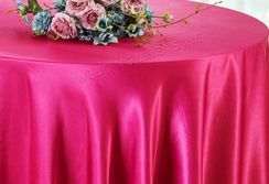 "108"" Round Satin Table Overlay - Fuchsia 55609 (1pc/pk)"