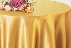 "108"" Round Satin Table Overlays - Gold 55627 (1pc/pk)"