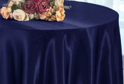 "108"" Round Satin Table Overlays - Navy Blue 55623 (1pc/pk)"