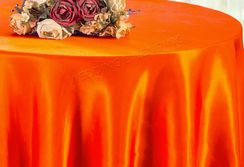 "108"" Round Satin Table Overlays - Orange 55633 (1pc/pk)"