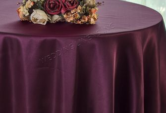"108"" Round Satin Table Overlays - Plum 55665 (1pc/pk)"