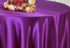"108"" Round Satin Table Overlays - Purple 55643 (1pc/pk)"